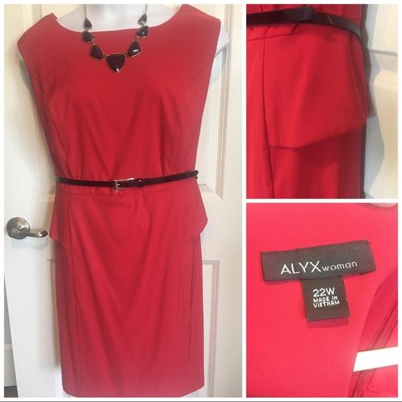 Plus Size Red Peplum Dress w/ Accent Belt